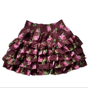 Abercrombie & Fitch Floral Ruffle Mini Skirt XS